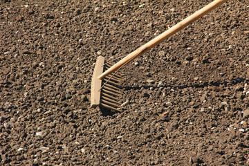 Holzrechen auf grob gekrümelter Erde