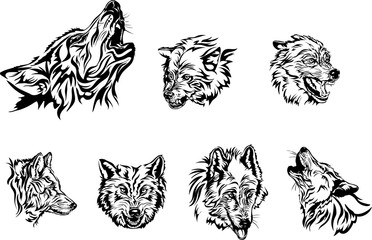Wolf, portrait, white, black, vector, graphics, drawing, picture, stylization, image, isolated, illustration