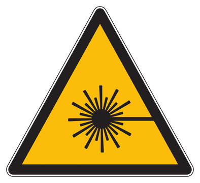 Warning for laser beam yellow sign