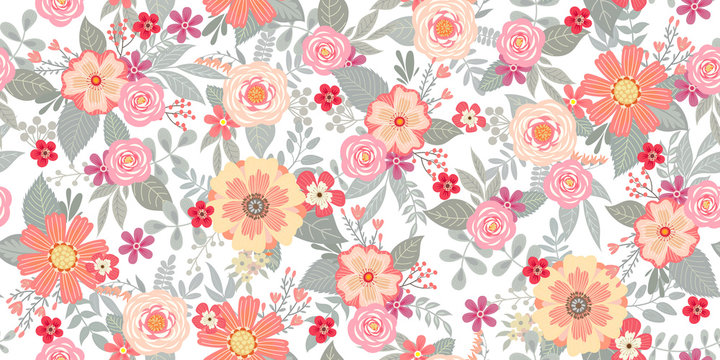 Cute seamless pattern with floral bunches for summer textile and wallpaper