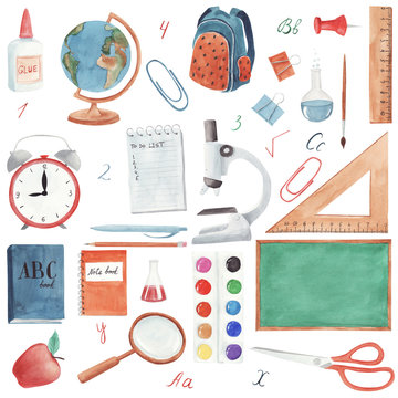 Hand drawn watercolor School supplies set isolated on white background