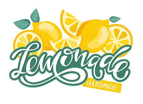 Lemonade hand drawn lettering label poster