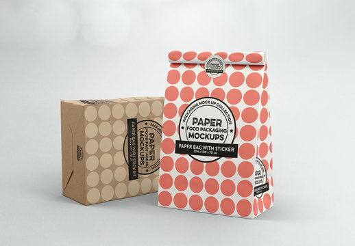 Paper Bags with Sticker Seal Mockup