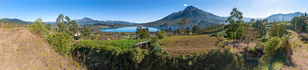 Panoramic view of the San Pablo Lake, close to Otavalo, Imbabura province, in Ecuador South America, on a sunny morning