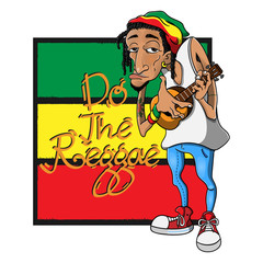 """Dreadlocks Man wearing a Skullcap with Reggae Style playing Ukulele Guitars in front of the Rastafarian Flag with """"do the reggae"""" text Cartoon Vector"""