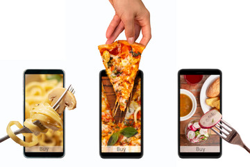 Photo sur Plexiglas Magasin alimentation Order and food delivery from your smartphone. Smartphone on white background