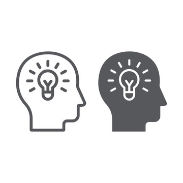 Human idea line and glyph icon, creativity and solution, light bulb in head sign, vector graphics, a linear pattern on a white background.