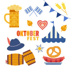 Oktoberfest hand drawn flat color vector icons set