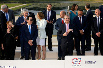 G7 finance ministers and central bank governors prepare to pose for a family photo, during the G7 finance ministers and central bank governors meeting in Chantilly