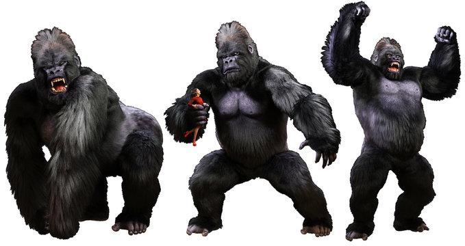Giant monstrous gorilla 3D illustration