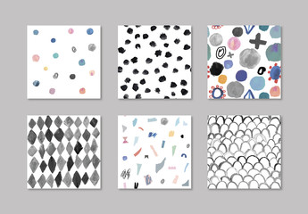Hand Painted Abstract Seamless Patterns