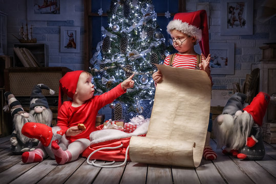 Children in the Christmas interior