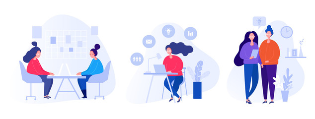 Collection of illustrations with people working in the office, making a presentation, negotiating and discussing business issues, developing ideas