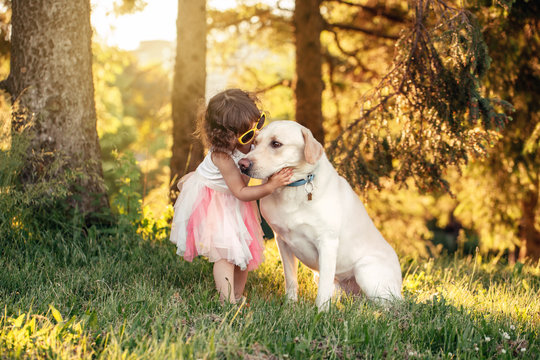 Portrait of cute adorable little Caucasian girl hugging kissing her dog in park outside at sunset on summer day. Child playing with animal domestic pet. Happy childhood concept.