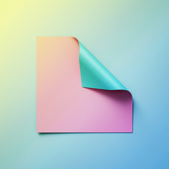 3d render, pink blank square paper with blue curled corner, abstract background, page curl, creative modern banner mockup, design element