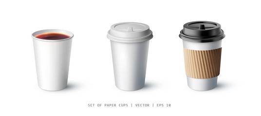 Isolated realistic vector mockup cup for coffee or tea. A set of mockup. Vector illustration