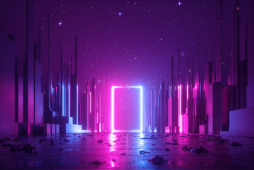 3d abstract neon background, cyber space virtual reality, ultraviolet glowing frame, portal at the end of the street of fantastic city, minimal skyscrapers, post apocalyptic urban concept, night sky Fotomurales