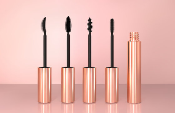 Set of realistic vector golden Mascara Bottles. Brush and mascara tube. Black wand and golden tube on rose-gold background. Fashionable cosmetics Makeup for Eyes
