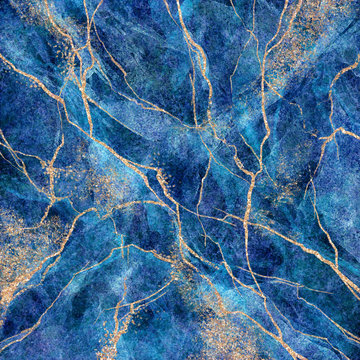 abstract background, blue marble with gold glitter veins, fake stone texture, painted artificial marbled surface, fashion marbling illustration
