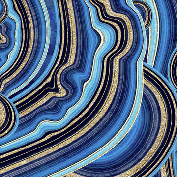 abstract background, fake stone texture, agate with blue and gold veins, painted artificial marbled surface, fashion marbling illustration
