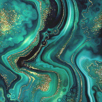 abstract background, fashion fake stone texture, malachite emerald green agate or marble slab with gold glitter veins, wavy lines, painted artificial marbled surface, artistic marbling illustration