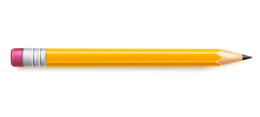 Vector realistic pencil with eraser drawing tool Fototapete