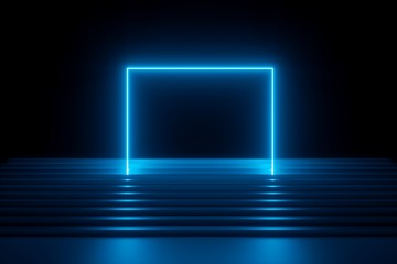 3d render, abstract blue neon background, modern music performance stage, glowing rectangular arch over stairs, blank banner, ultraviolet spectrum, laser show