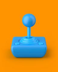 Blue retro joystick on an orange background. 3d render. Angled view. Kitsch Art Series.