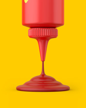 Close-up ketchup squeeze bottle pouring on a yellow background. 3d render. Front view. Conceptual Scenes Series.
