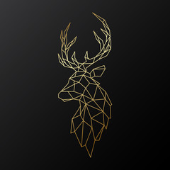 Golden polygonal Deer illustration isolated on black background. Geometric animal emblem. Vector illustration.