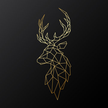 Golden polygonal Deer illustration isolated on black background. Geometric animal emblem. Vector illustration.