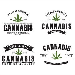 Set of vector cannabis badges. Medical marijuana labels. Logos with hemp leaves vintage design