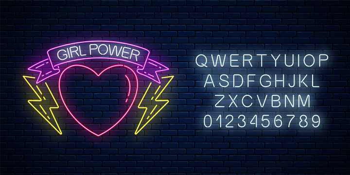 Girls power sign in neon style with alphabet. Glowing symbol of female slogan in ribbon with heart and lightning shapes