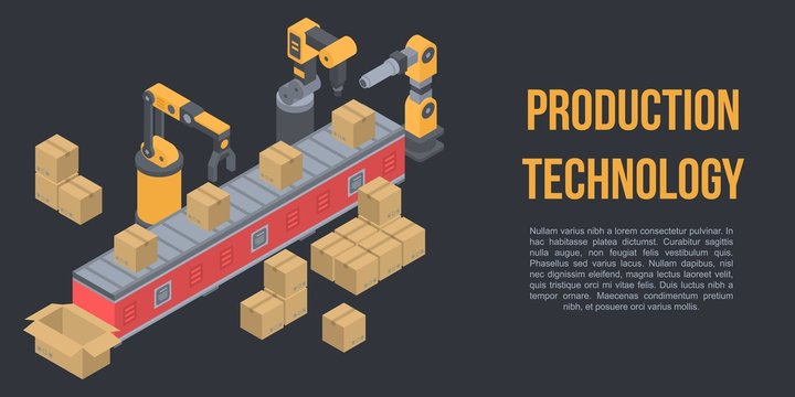 Production technology concept banner. Isometric illustration of production technology vector concept banner for web design