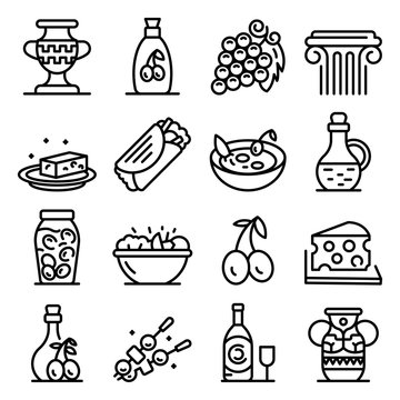 Greek cuisine icons set. Outline set of Greek cuisine vector icons for web design isolated on white background
