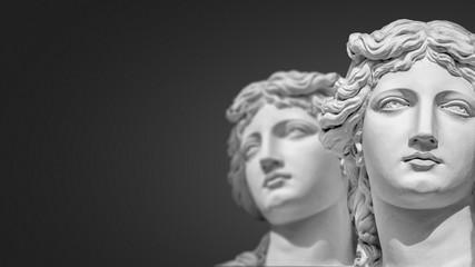 Portrait of two young and naked sensual Roman renaissance era women in Vienna, Austria, details, closeup