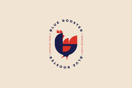 Logo template for poultry farm and poultry farm. Rooster in folk style. Image can be used for packaging design, restaurant menus, market design, butcher shops and chicken farm. Vector illustration.