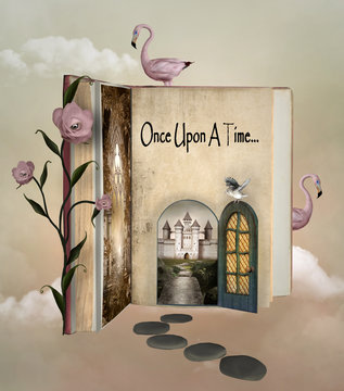 Fairy tale book with an open door to wonderland