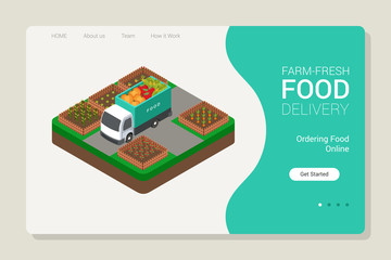 Isometric Farm Food Delivery Website Template Illustration