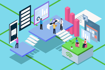 Isometric of Business People Working With Technology Illustration