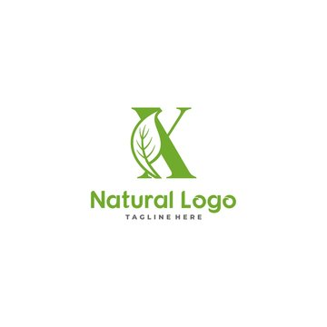 Letter X With Leaf Logo. Green leaf logo icon vector design. Landscape design, garden, Plant, nature and ecology vector. Ecology Happy life Logotype concept icon. Editable file.