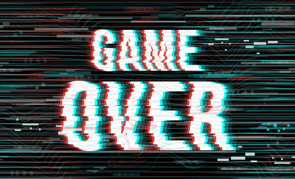 Vector Game Over phrase in glitch VHS effect. Creative illustration for web page, banner, presentation, social media, documents, cards, posters. Vector illustration.