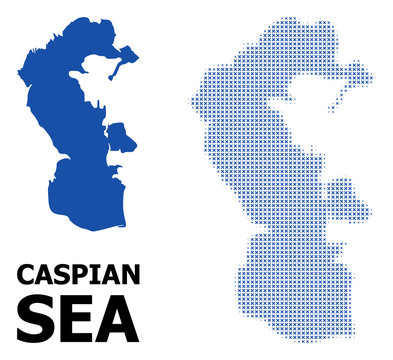 Vector Halftone Mosaic and Solid Map of Caspian Sea