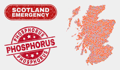 Vector composition of danger Scotland map and red round distress Phosphorus seal stamp. Emergency Scotland map mosaic of flame, power hazard elements. Vector composition for emergency services,