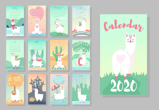 Calendar 2020. Cute monthly calendar with llama alpaca animals. Hand drawn style characters