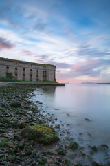View on Fort Wadsworth at sunset with Manhattan on background long exposure