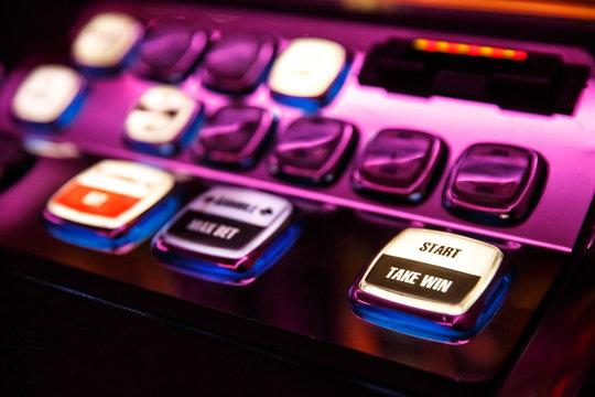 Casino. Gaming machine buttons. Inscriptions in English.