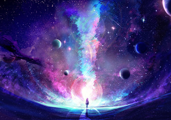 Abstract Unique Young Woman Standing In the Middle Of A Galaxy Crack