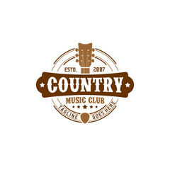 Vector Country Music Club Typography Logo Design Inspiration