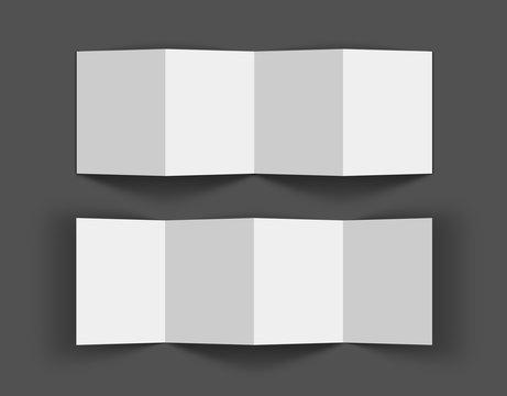 3D Accordion fold opened brochure mock-up, eight pages four panel leaflet, concertina fold. blank white 3d render illustration. Pamphlet, Catalog empty mockup for Presentation on dark background.